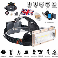 20W LED COB USB Rechargeable 18650 Headlamp Headlight Fishing Torch UK