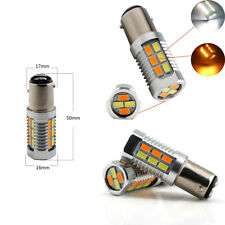2 PCS Car Dual Color Switchback Amber/White Turn Signal LED Front Light Bulbs