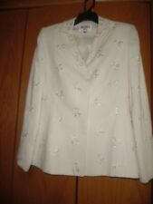 KASPER for A.S.L. Womens Size 4 Long Blazer Jacket Ivory Embroidered