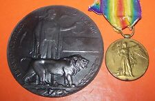 DEATH PLAQUE + 1ST  WORLD WAR MEDAL AWARDED TO H.C. WENSLEY