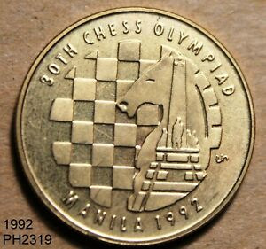 PHILIPPINES 5 Pesos 1992 CHESS OLYMPIAD UNCIRCULATED with card FREE SHIPPING U.S