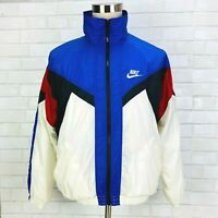 Nike VTG Red White Blue Colorblock Zip Windbreaker Track Jacket Red Tag Mens M