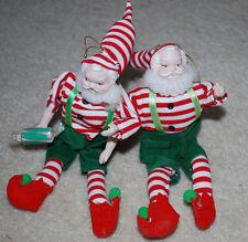 """Porcelain Cloth Christmas Elves Santa Claus Dolls 9"""" Poseable Ornaments Figures"""