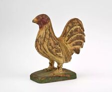 An Early Vintage Wooden Pine Carved Amercian Painted Folk Art Rooster