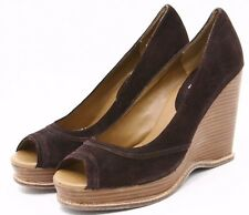 Steve Madden Cristan Womens Sandals 10 Brown Nubuck Leather Platform Wedge heels