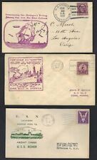 US 1930s 3 NAVY COVERS US FRIGATE CONSTITUTION USN AIRCRAFT CARRIER NEWPORT NEWS