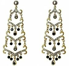 Grand Or Ethnique Oriental volutes Boucles d'oreille chandelier w/ JET