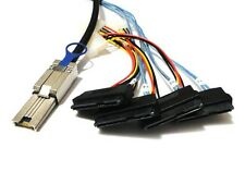 Mini SAS 26 SFF-8088 TO 4* SAS 29 Pin SFF-8482 with 4 Pin Power Cable 1m