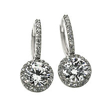 2.49CT WOMENS STYLISH HALO DROP WHITE SAPPHIRE EARRINGS 14K WG PLATED SILVER