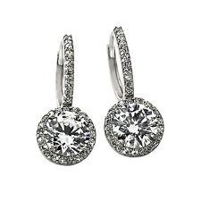 Fancy 2.49CT 14K White Gold  Halo Drop White Sapphire Earrings