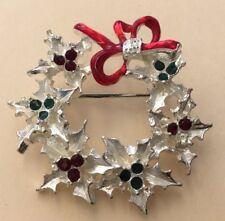 Christmas Holiday Costume Rhinestone Enameled Wreathe Pin OOK8