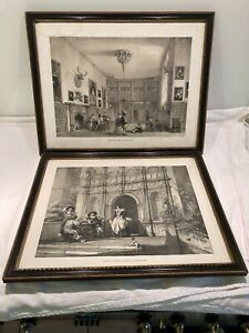 2  Antique Hogarth Framed Antique Prints Of Wroxton Abbey Oxfordshire