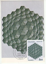 CARTE MAXIMUM FDC 1977 TIMBRE N° 1924 OEUVRE DE VASARELY HOMMAGE A L EXAGONE