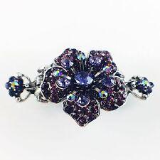 USA Hair Claw Clip Hairpin Rhinestone Crystal Vintage Barrette Flower Purple A08
