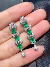 Natural Emerald Earrings, Emerald Earrings, Emerald Earrings Silver