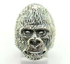 Gorilla Mens Design 3D Sterling Silver 925 Ring 13g Sz.11 DD010