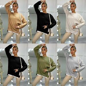 Women's Side Zip Jumper Ladies Fine Knit Long Sleeve Party Dress New 8-14