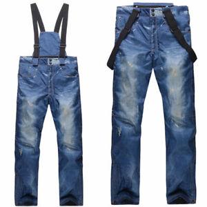 Men's Ski Snow Pants Denim Thick Warm Waterproof Outdoor Snowboard Jeans w/Bib