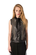 DIESEL BLACK GOLD Size 40 / S ZANZY 100% Leather Studded Gilet Made in Italy