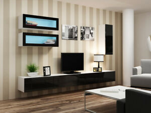 Seattle C4 - white and black entertainment unit / tv media stand