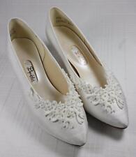 Dyeables Cherish White Silk Bridal Shoes Lace & Beaded Heels Pumps Wedding 6.5 C