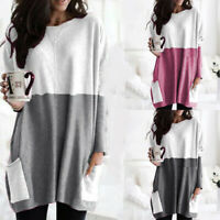 Womens Long Sleeve T Shirts Tunic Tops Loose Jumper Patchwork Pullover BlouDS