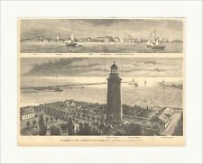 Der Donauhafen von Sulina Schönberg Schwarzes Meer Leuchtturm Holzstich E 11129