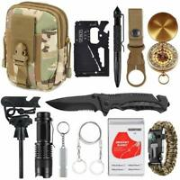 13 in 1 Survival Kit Outdoor Military Gear Tool Emergency Tactical EDC Set Pouch