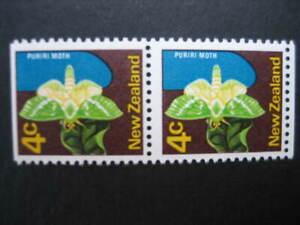 NEW ZEALAND NHM PAIR-1971 4c PURIRI MOTH WMK SIDEWAYS INV9ex booklet)  SG 919b