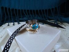 Sterling Silver & 14K GP Copper Infused Stabilized Turquoise Ring ~ Size 9