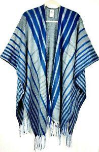 NWOT WOOLRICH Blue Gray Stripe Open Front Fringed Oversized Cape Blanket Poncho