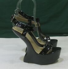 """NEW Black 6""""High Wedge Heel LESS  2""""Platform  Ankle Strap Sexy Shoes Size 7"""