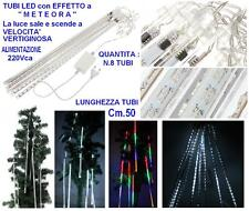 TENDA PROLUNGABILE Cm.210Lx50H  N.8 TUBI LED MULTICOLOR EFFETTO METEORA NATALE