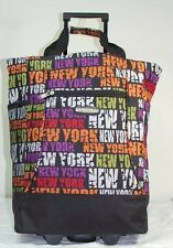 """New York Pattern 20"""" Wheeled Rolling Shopping Tote Bag with Retractable Handle"""