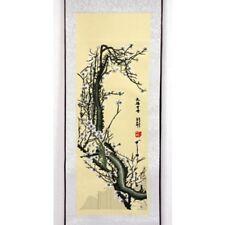 Rollbild Pflaumenblüte weiß chinesische Bildrolle gestickt China