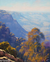 LANDSCAPE OIL PAINTING JAMISON VALLEY  BLUE MOUNTAINS TRADITIONAL AUSTRALIAN ART