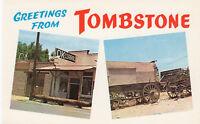 Chrome Postcard A788 Greetings from Tombstone OK Corral Earp Clanton Feud ARIZ