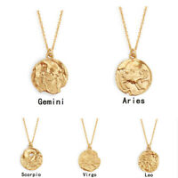 New Zodiac Pendant Gold Chain Constellation Zirconia Necklace Stainless Steel
