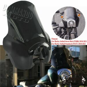 Front Fairing Black Headlight Windshield For Harley Softail Street Bob 2018-2021