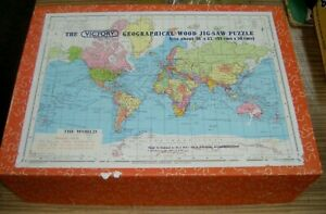 Vintage Victory Geographical The World Map Wood Jigsaw Puzzle