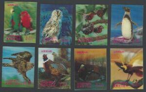Bhutan 1969 Birds 3-D set of 8 stamps and 2 S/S. Scott #104-104G/h-i