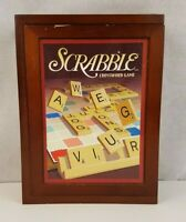 Vtg Scrabble Game Collection Wooden Box Library Book Shelf Parker Brothers