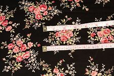 FLORAL Fabric By the Metre Black Pink Flowers Dressmaking Crafts 100% Cotton