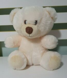 KORIMCO TEDDY BEAR SMALL WHITE BEAR  18CM BROWN EMBROIDERED EYES