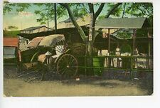 Street Vendor SINGAPORE Rare Antique PC Roadside Scene Push Cart 1910s