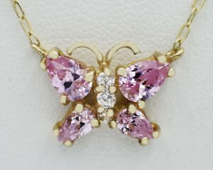GEMSTONES AAA PINK & WHITE SAPPHIRES NECKLACE 10K GOLD* New With Tag *