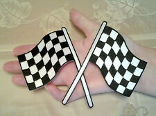 """Racing - Checkered Crossed Flags -  6"""" Wide - Iron On Patch - Racing Theme"""