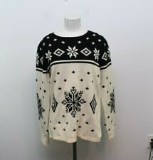 Telluride Clothing Co Sweater Large Lambswool Blend Nordic Snowflake Black White