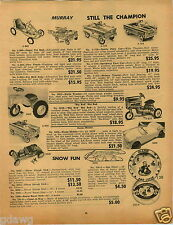 1965 PAPER AD Murray Pedal Car Deluxe Farm Tractor Sports Fury Cars Tee Bird