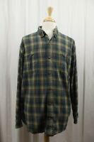 Duluth Trading Co. Flannel Mens Shirt X-Large XL Button Down Blue Plaid L/S